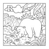 Coloring book (rhino), colorless alphabet for children: letter R — Stock Vector