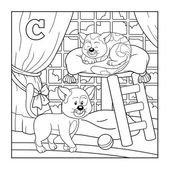 Coloring book (cat), colorless alphabet for children: letter C — Stock Vector