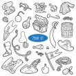 Vector set of pirate items, colorless cartoon collection — Stock Vector #65182189