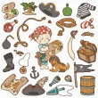 Vector set of pirate items, color cartoon collection, boy and do — Stock Vector #65181063