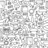 Colorless vector pattern of shopping items — Stock Vector