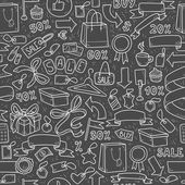 Vector pattern of shopping items on black background — Stock vektor