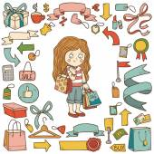 Vector set of shopping items, girl with shopping bags — Stock Vector