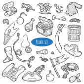 Vector set of pirate items, colorless cartoon collection — Stock Vector