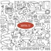 Vector set of shopping items, colorless cartoon collection — Stock Vector