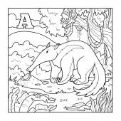 Coloring book (anteater), colorless illustration (letter A) — Stock Vector