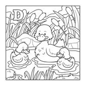 Coloring book (duck), colorless illustration (letter D) — Stock Vector