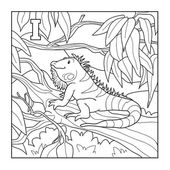 Coloring book (iguana), colorless illustration (letter I) — Stock Vector