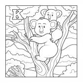 Coloring book (koala), colorless illustration (letter K) — Stock Vector