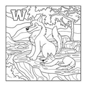 Coloring book (wolf), colorless illustration (letter W) — Stock Vector