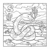 Coloring book (snake), colorless illustration (letter S) — Stock Vector
