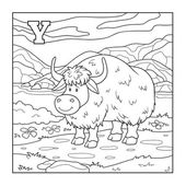 Coloring book (yak), colorless illustration (letter Y) — Stock Vector