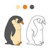 Coloring book (penguin) — Stockvector