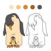 Coloring book (penguin) — Vector de stock