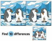Find differences (penguin) — Stock Vector