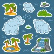 Set of cute elephants and natural sites, vector stickers of anim — Cтоковый вектор #67371365