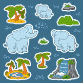 Set of cute elephants and natural sites, vector stickers of anim — Stock Vector