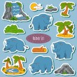 Set of various cute rhino, vector stickers of animals and items  — Stock Vector #69835415