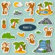 Set of various cute monkey, vector stickers of animals and items — Stock Vector #69835853
