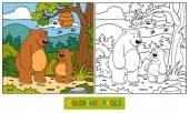 Coloring book (bears) — Stock Vector