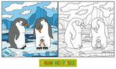 Coloring book (penguin) — 图库矢量图片