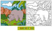 Coloring book (rhino) — Stock Vector