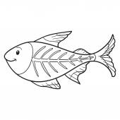 Coloring book (x-ray fish) — Stock Vector