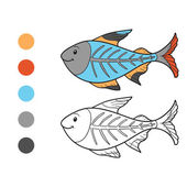 Coloring book (x-ray fish) — Stockvektor