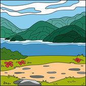 (山と海の自然な背景のベクトル図) — ストックベクタ