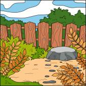Vector illustration, natural background (backyard and fence) — Stock Vector