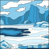 Vector illustration, winter background (Antarctica) — Vector de stock