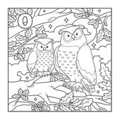 Coloring book (owl), colorless illustration (letter O) — Stock Vector
