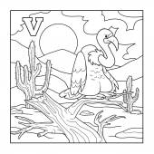 Coloring book (vulture), colorless illustration (letter V) — Stock Vector
