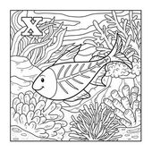 Coloring book (x-ray fish), colorless illustration (letter X) — Stock Vector