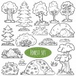 Colorless vector set of forest items — Stock Vector #71821789