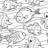 Colorless vector pattern with fish — Stock Vector