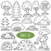 Colorless vector set of forest items — Stock Vector