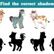 Find the correct shadow: farm animals (horse and cows) — Stock Vector #74588353
