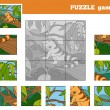 Puzzle Game for children with animals (iguana) — Stock Vector #74588667