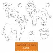 Connect the dots (farm animals set, cow family) — Cтоковый вектор