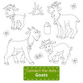 Connect the dots (goats family, farm animals) — Cтоковый вектор