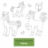 Connect the dots (farm animals set, horse family) — Cтоковый вектор