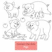 Connect the dots (farm animals set, pig family) — Cтоковый вектор