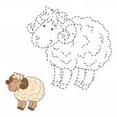 Connect the dots (sheep) — Stock Vector