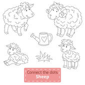 Connect the dots (farm animals set, sheep family) — Cтоковый вектор
