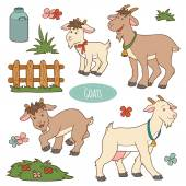 Set of cute farm animals and objects, vector family goats — Stock Vector