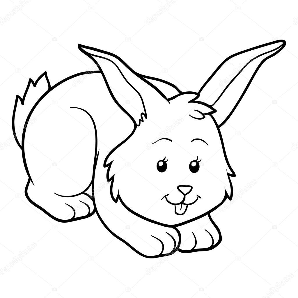 coloring book rabbit pictures : Game For Children Coloring Book Rabbit Vector By Ksenya_savva