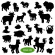 Set of farm animal silhouettes (pig, cow, horse, goat, sheep, ra — Stock Vector #77092321