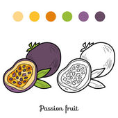 Coloring book: fruits and vegetables (passion fruit) — Stock Vector