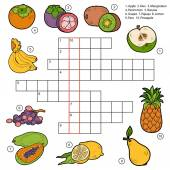 Vector crossword, game for children about fruits — Stock Vector